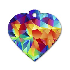 Triangles Space Rainbow Color Dog Tag Heart (one Side) by Mariart