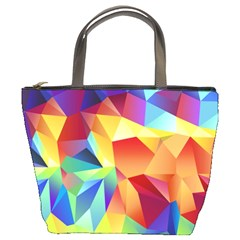Triangles Space Rainbow Color Bucket Bags by Mariart