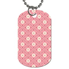 Sunflower Star White Pink Chevron Wave Polka Dog Tag (two Sides) by Mariart