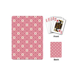 Sunflower Star White Pink Chevron Wave Polka Playing Cards (mini)  by Mariart