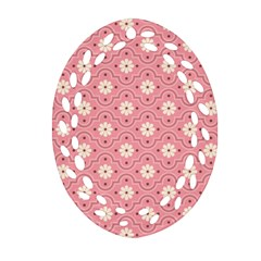 Sunflower Star White Pink Chevron Wave Polka Oval Filigree Ornament (two Sides) by Mariart