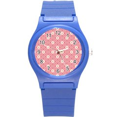 Sunflower Star White Pink Chevron Wave Polka Round Plastic Sport Watch (s) by Mariart