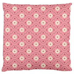 Sunflower Star White Pink Chevron Wave Polka Large Cushion Case (two Sides) by Mariart
