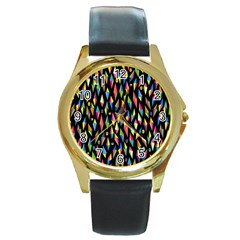 Skulls Bone Face Mask Triangle Rainbow Color Round Gold Metal Watch by Mariart