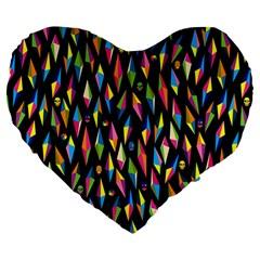 Skulls Bone Face Mask Triangle Rainbow Color Large 19  Premium Flano Heart Shape Cushions by Mariart