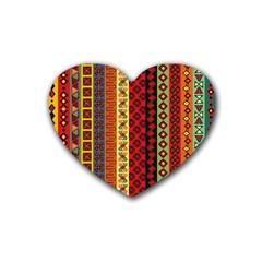 Tribal Grace Colorful Rubber Coaster (heart)  by Mariart