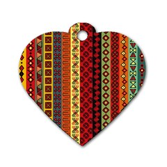 Tribal Grace Colorful Dog Tag Heart (two Sides) by Mariart