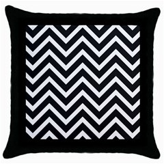 Zigzag Pattern Throw Pillow Case (black) by Valentinaart