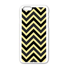 Zigzag Pattern Apple Iphone 6/6s White Enamel Case by Valentinaart
