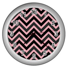 Zigzag Pattern Wall Clocks (silver)  by Valentinaart