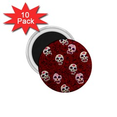 Funny Skull Rosebed 1 75  Magnets (10 Pack)  by designworld65