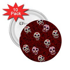 Funny Skull Rosebed 2 25  Buttons (10 Pack)