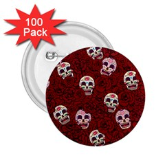Funny Skull Rosebed 2 25  Buttons (100 Pack)