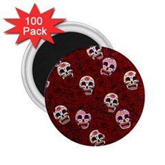 Funny Skull Rosebed 2 25  Magnets (100 Pack)