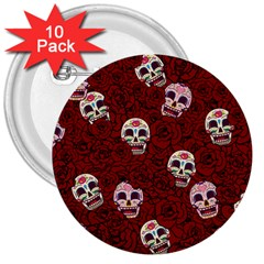 Funny Skull Rosebed 3  Buttons (10 Pack)