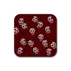 Funny Skull Rosebed Rubber Square Coaster (4 Pack)  by designworld65