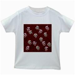Funny Skull Rosebed Kids White T Shirts