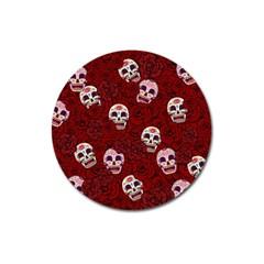 Funny Skull Rosebed Magnet 3  (round)