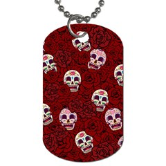 Funny Skull Rosebed Dog Tag (two Sides)