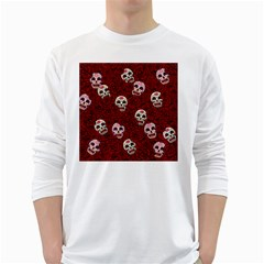 Funny Skull Rosebed White Long Sleeve T Shirts