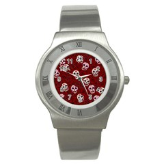 Funny Skull Rosebed Stainless Steel Watch by designworld65