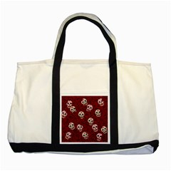 Funny Skull Rosebed Two Tone Tote Bag by designworld65