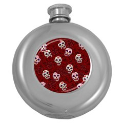 Funny Skull Rosebed Round Hip Flask (5 Oz)