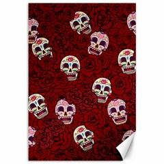 Funny Skull Rosebed Canvas 12  X 18   by designworld65