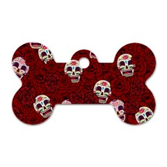 Funny Skull Rosebed Dog Tag Bone (one Side)