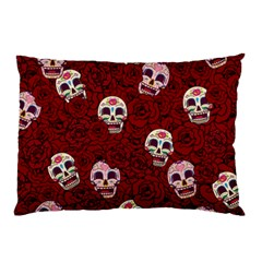 Funny Skull Rosebed Pillow Case by designworld65