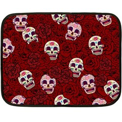 Funny Skull Rosebed Double Sided Fleece Blanket (mini)