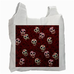 Funny Skull Rosebed Recycle Bag (one Side)