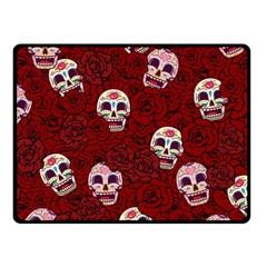 Funny Skull Rosebed Fleece Blanket (small)