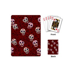 Funny Skull Rosebed Playing Cards (mini)  by designworld65