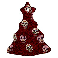 Funny Skull Rosebed Christmas Tree Ornament (two Sides)