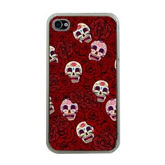 Funny Skull Rosebed Apple Iphone 4 Case (clear) by designworld65