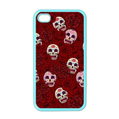 Funny Skull Rosebed Apple Iphone 4 Case (color) by designworld65