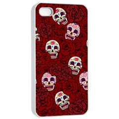 Funny Skull Rosebed Apple Iphone 4/4s Seamless Case (white) by designworld65