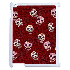 Funny Skull Rosebed Apple Ipad 2 Case (white) by designworld65