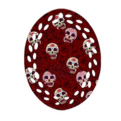 Funny Skull Rosebed Oval Filigree Ornament (two Sides)