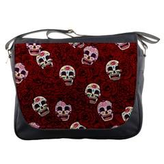 Funny Skull Rosebed Messenger Bags