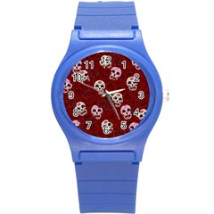 Funny Skull Rosebed Round Plastic Sport Watch (s) by designworld65