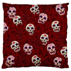 Funny Skull Rosebed Large Cushion Case (two Sides)