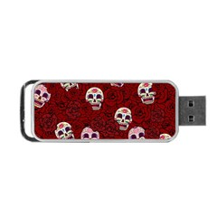Funny Skull Rosebed Portable Usb Flash (two Sides)
