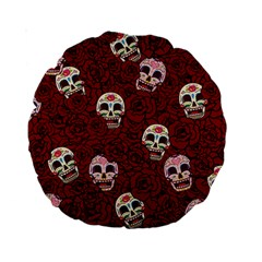 Funny Skull Rosebed Standard 15  Premium Round Cushions