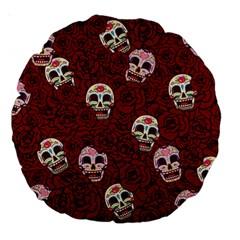 Funny Skull Rosebed Large 18  Premium Round Cushions