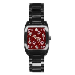 Funny Skull Rosebed Stainless Steel Barrel Watch