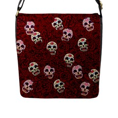 Funny Skull Rosebed Flap Messenger Bag (l)  by designworld65