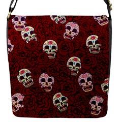 Funny Skull Rosebed Flap Messenger Bag (s)