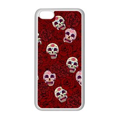 Funny Skull Rosebed Apple Iphone 5c Seamless Case (white) by designworld65